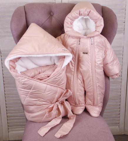 Зимний комплект на выписку Финляндия (розовый)
