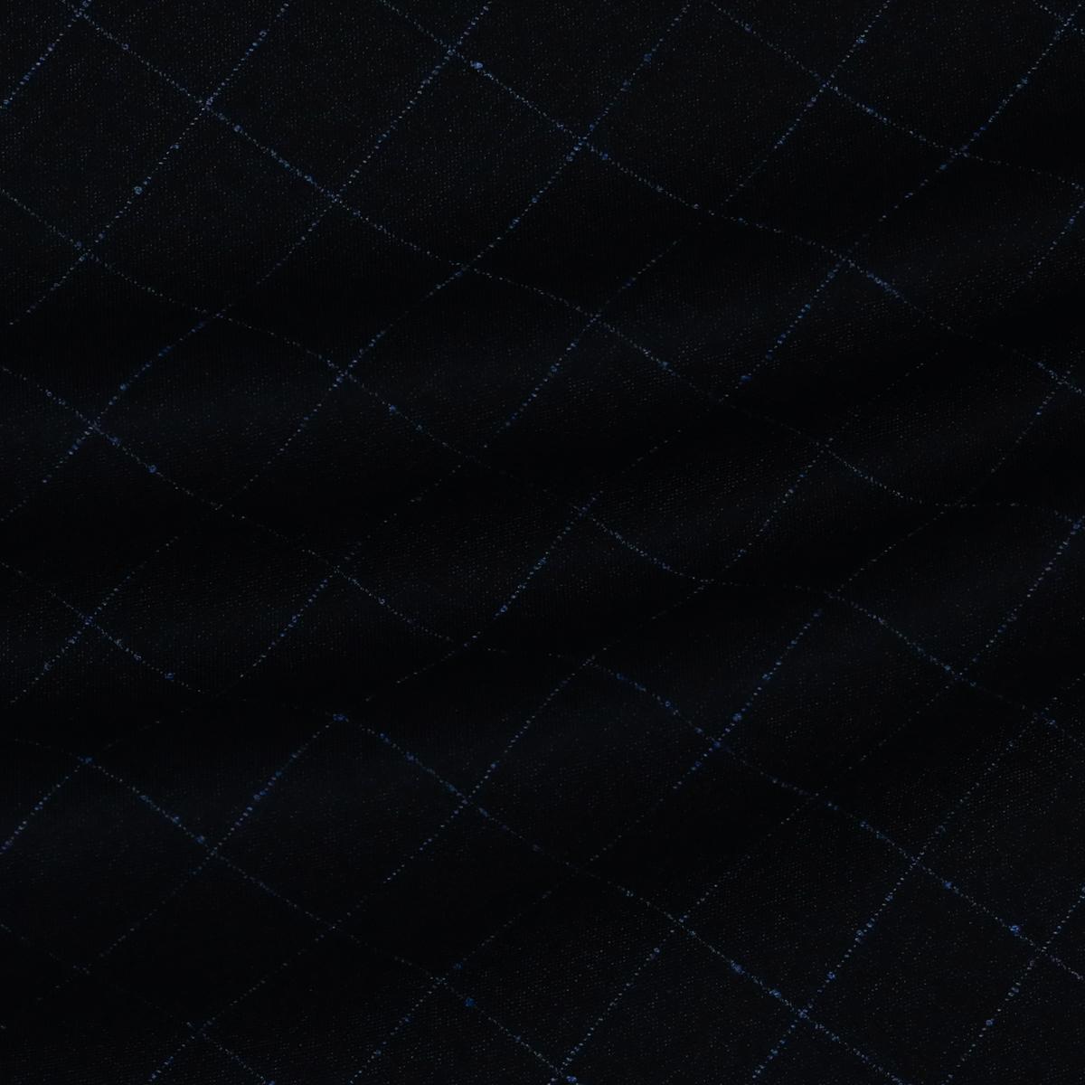 Шерстяная с добавлением кашемира ткань в тонкую клетку синего цвета