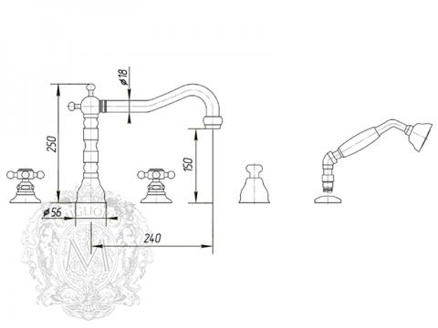Смеситель для ванны на 5 отверстий Migliore Arcadia, хром ML.ARC-8380  схема