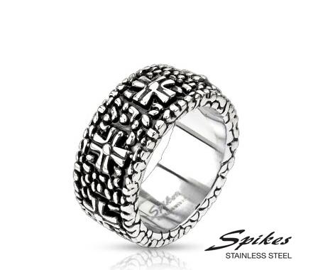 R-H4353 Массивное мужское кольцо «Spikes» с рельефным рисунком