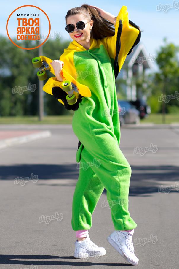 Пижамы кигуруми Попугай зеленый parrot-green2.jpg