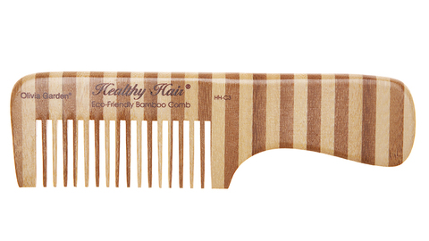 Гребень для волос бамбуковый с ручкой