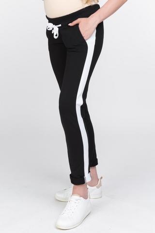 Спортивные брюки для беременных 10440 черный/белый