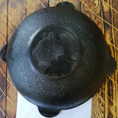 Узбекский чугунный казан 10л плоское дно (дырочка в ушке)