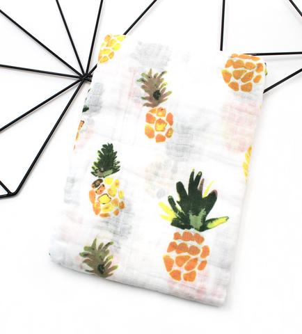 Муслиновая пеленка-ананасы акварель(115х115см)