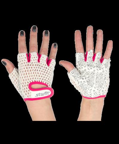 Перчатки для фитнеса SU-110, белые/розовые