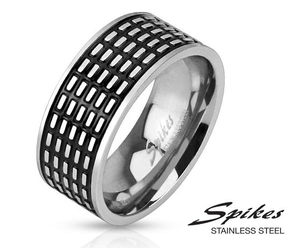R-M3062 Мужское стальное кольцо с чернением «Spikes»