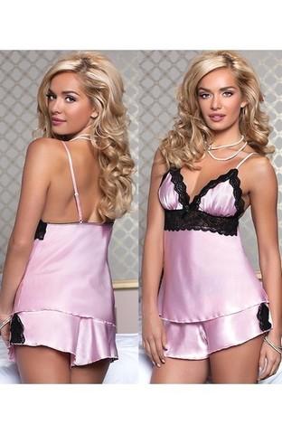Атласная сексуальная пижамка (розовая)