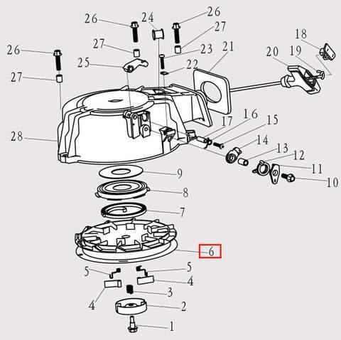 Заводной барабан для лодочного мотора F9.8 Sea-PRO (8-6)