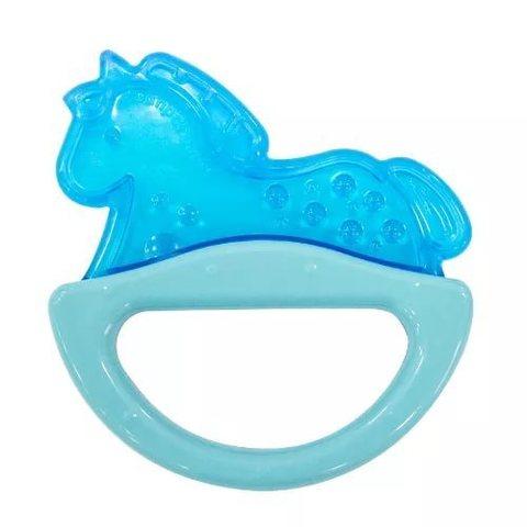 Погремушка с эластичным прорезывателем, 0+ (голубой, форма: лошадка)