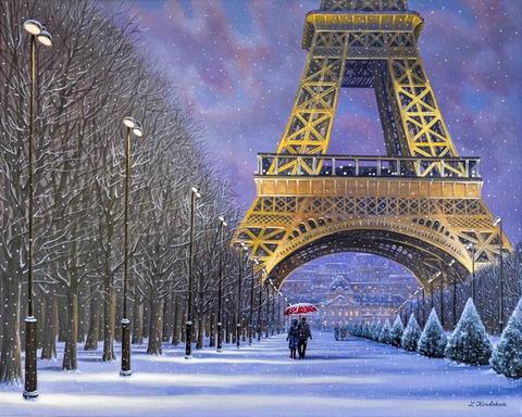 Картина раскраска по номерам 50x65 Заснеженная улица Парижа