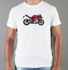 Футболка с принтом Honda мотоцикл (Хонда) белая 01
