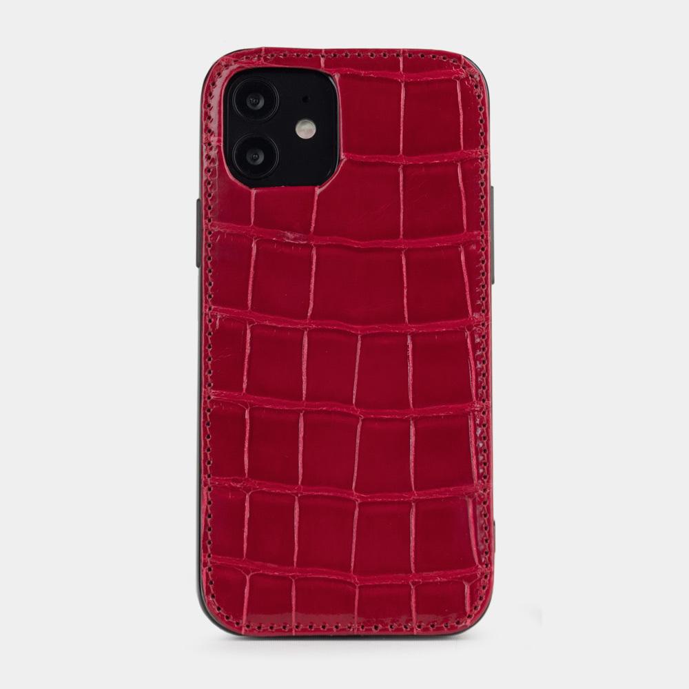 Special order: Чехол-накладка для iPhone 12/12Pro из натуральной кожи крокодила, цвета красный лак