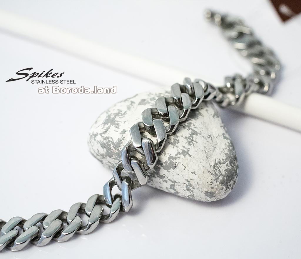 SSBQ-3494 Массивный мужской браслет «Spikes» из ювелирной стали (21 см) фото 02