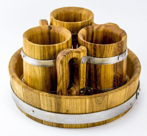 Набор пивной из 3-х дубовых кружек, с подносом