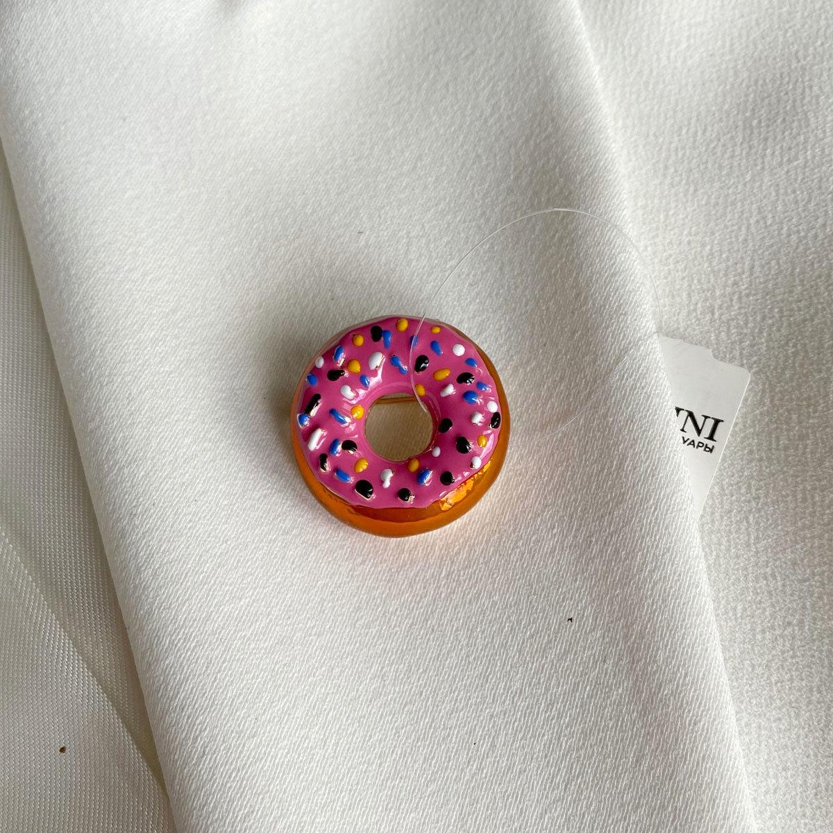 Брошь Пончик Донат эмаль розовый