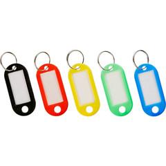 Бирки для ключей пластиковые разноцветные (5 цветов, 10 штук в упаковке)