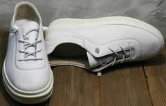 Белые кожаные кроссовки кеды с белой подошвой женские Rozen M-520 All White.