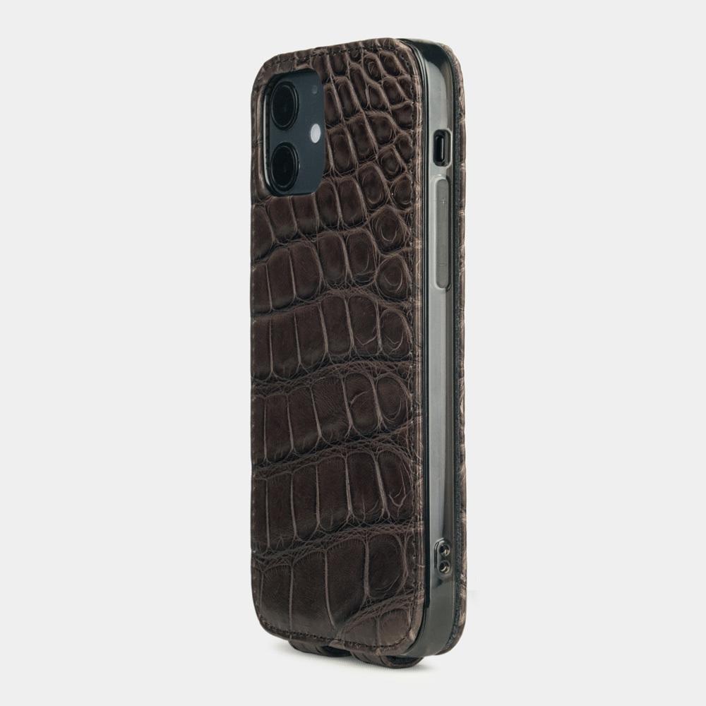 Special order: Чехол для iPhone 12/12Pro из натуральной кожи крокодила, коричневого цвета