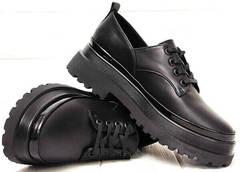 Осенние женские туфли на низком каблуке из натуральной кожи Marani magli M-237-06-18 Black.