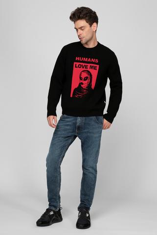 Мужской черный шерстяной свитер K-NORFOLK Diesel