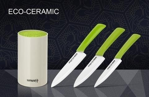Набор из 3-х кухонных ножей из керамики Samura Eco-Ceramic с подставкой, арт. SKC-004G