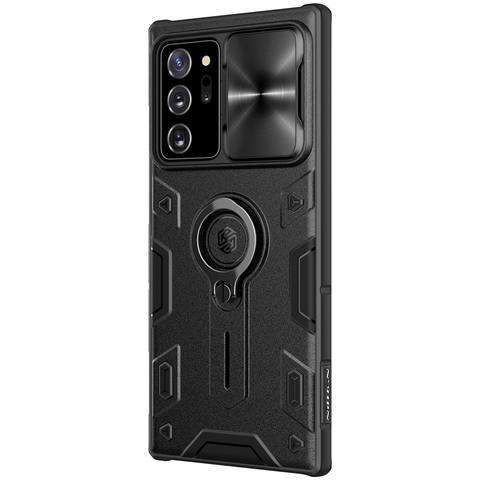 Чехол черного цвета от Nillkin на Samsung Galaxy Note 20 Ultra с защитой камеры, серия CamShield Armor Case (металлическая крышка камеры)