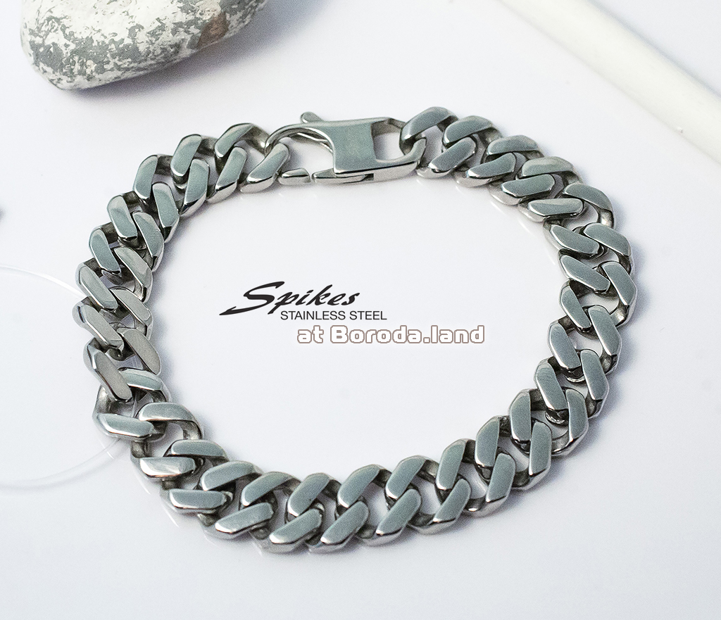SSBQ-3494 Массивный мужской браслет «Spikes» из ювелирной стали (21 см) фото 03