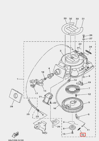 Пружина стопора-упора для лодочного мотора F20 Sea-PRO (10-10)