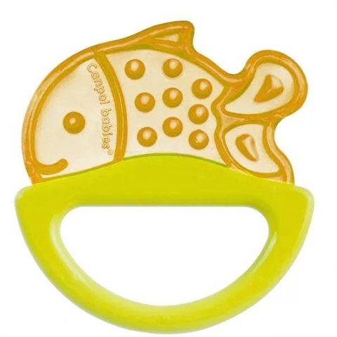Погремушка с эластичным прорезывателем, 0+ (желтый, форма: рыбка)