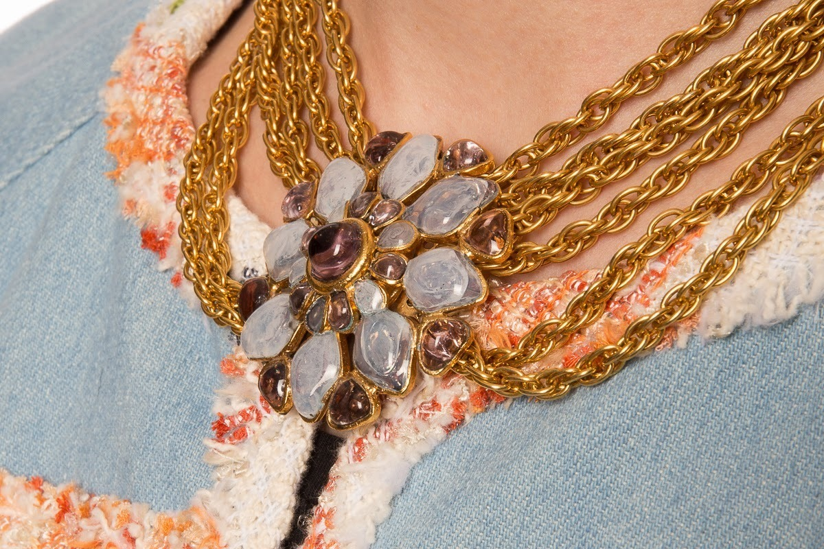 Elegant necklace of chains with Gripoix glass flower by Chanel