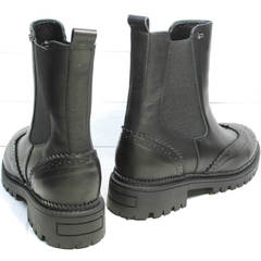 Ботинки женские осень без каблука Jina 7113 Leather Black