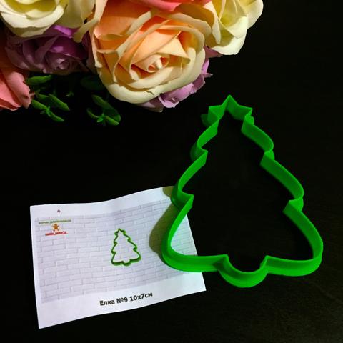 Вырубка для пряников пластиковая ЕЛКА №9 (10см)