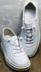 Осенние кроссовки кеды кожаные белые женские Rozen M-520 All White.