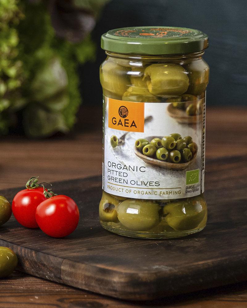 Оливки GAEA органик зеленые без косточки 290 гр.