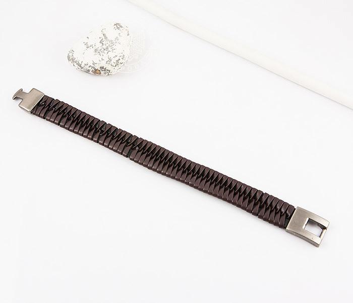 SL0039-BRN Оригинальный широкий мужской браслет из коричневой кожи, «Spikes»  (21 см) фото 02