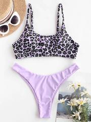 купальник раздельный нежно лиловый  леопардовый Lavender Leopard 1