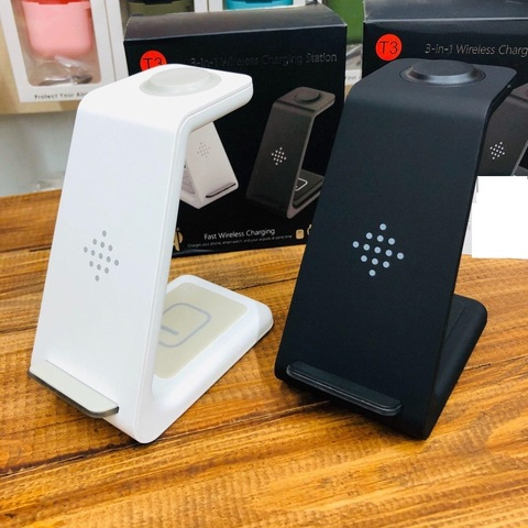 Беспроводная зарядка стенд + блок Smart 3 in 1 T3 Fast 15W /black/