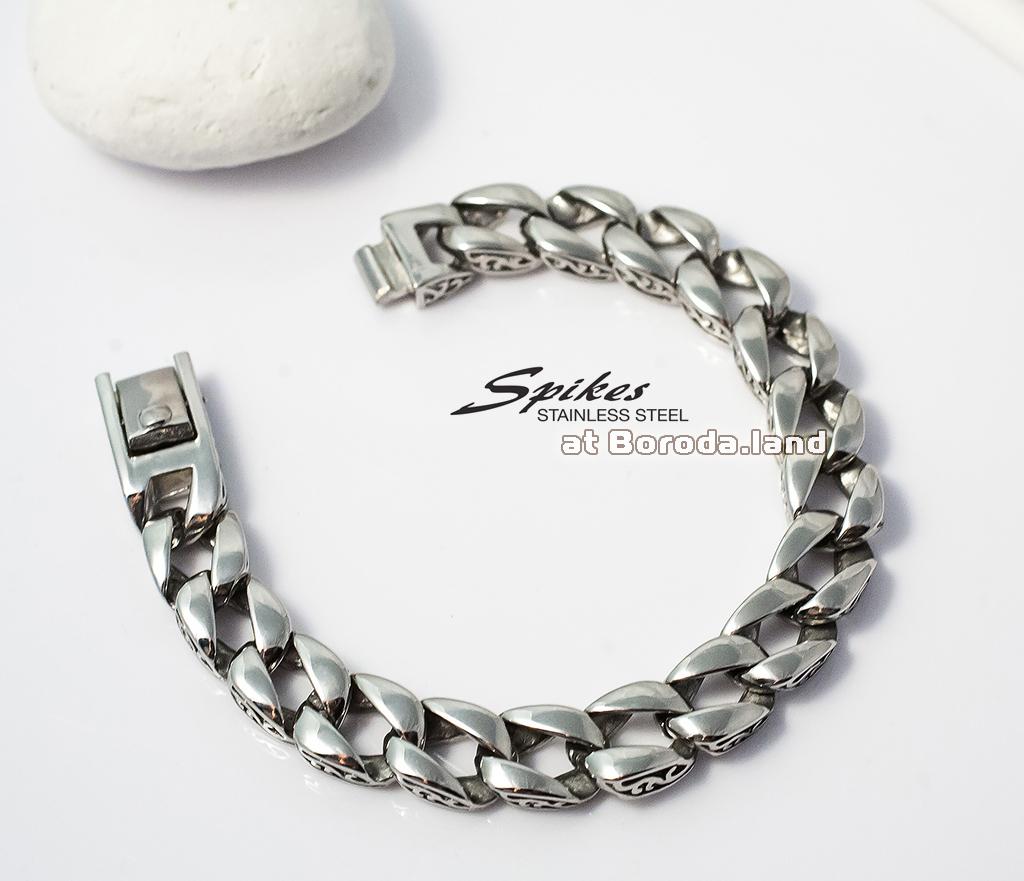 SSBQ-3041 Мужской браслет из ювелирной стали с гравировкой на звеньях, «Spikes», (22 см) фото 03