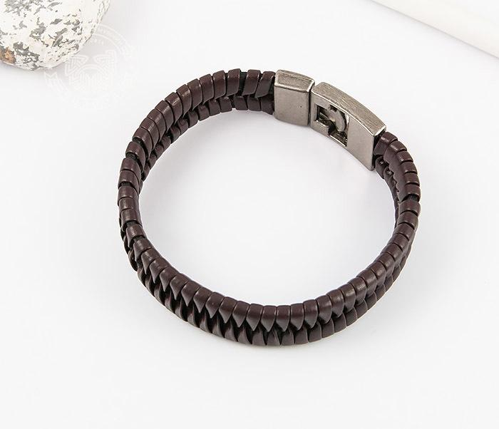 SL0039-BRN Оригинальный широкий мужской браслет из коричневой кожи, «Spikes»  (21 см) фото 03