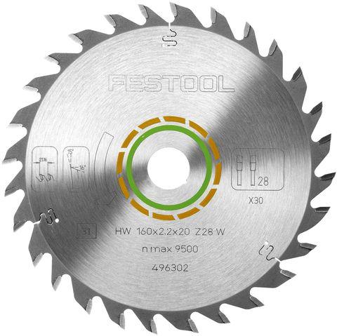 Пильный диск FESTOOL с мелким зубом 160x2,2x20 W28