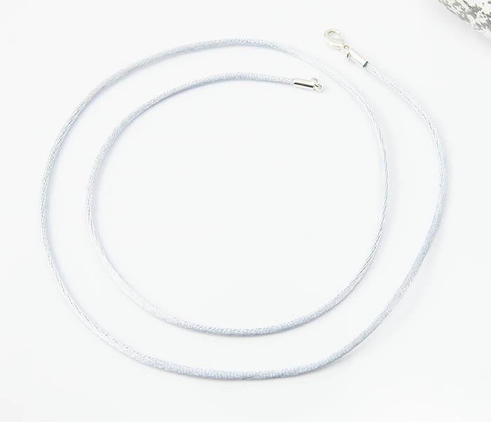 PL279-4 Шелковый шнурок на шею серебристого цвета фото 02