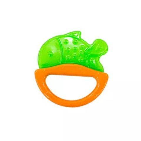 Погремушка с эластичным прорезывателем, 0+ (зеленый, форма: рыбка)