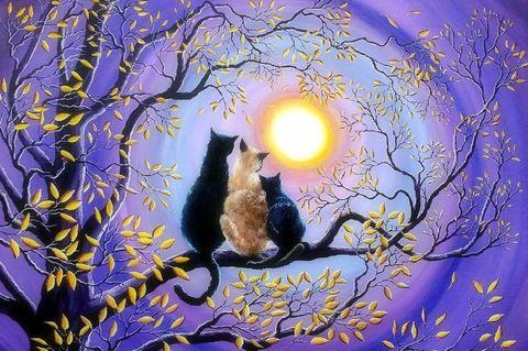 Алмазная Мозаика 30x40 Семья котов любуется луной на дереве