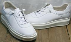 Белые модные кроссовки кеды с белой подошвой Rozen M-520 All White.