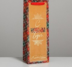 Пакет под бутылку «С Новым годом!», 13 × 36 × 10 см