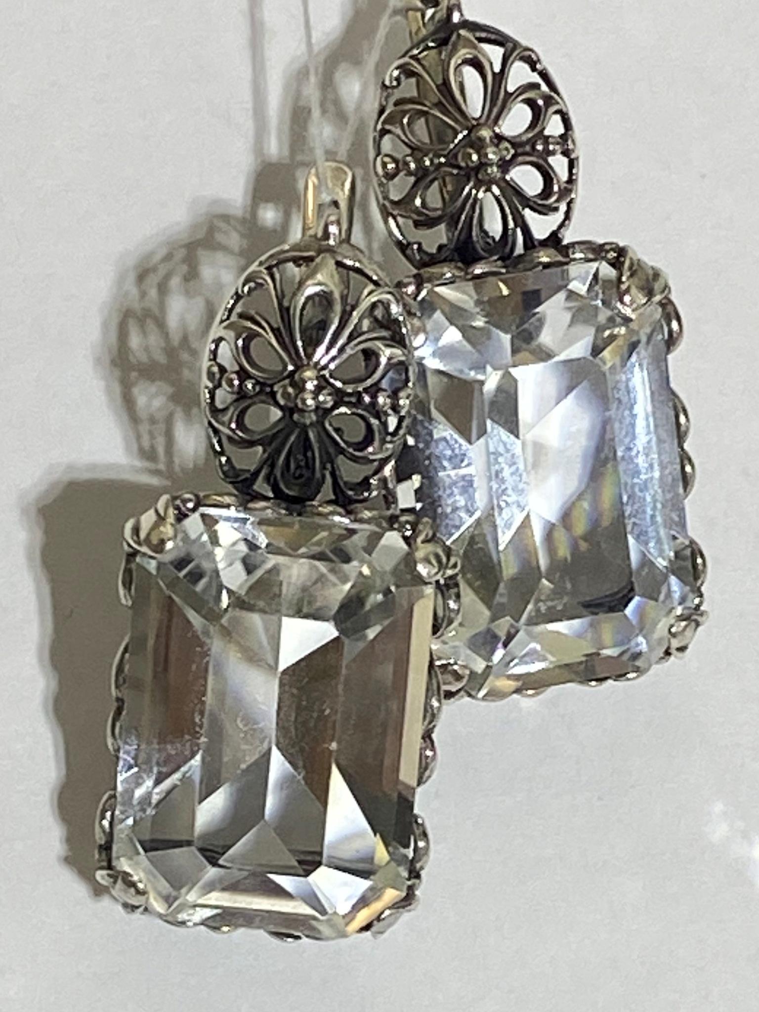 Ульма-хрусталь  (серьги из серебра)