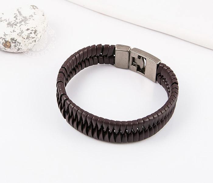 SL0039-BRN Оригинальный широкий мужской браслет из коричневой кожи, «Spikes»  (21 см) фото 04