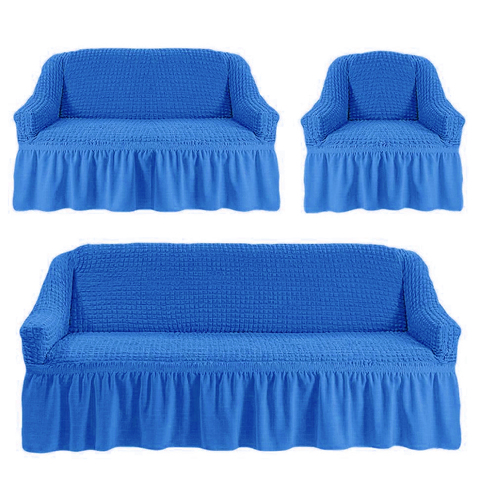 Чехлы на трехместный диван и двухместный диван + кресло,лазурный