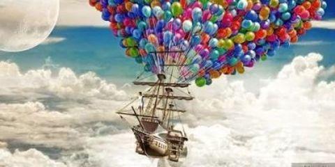 Картина раскраска по номерам 50x65 Корабль на воздушных шарах